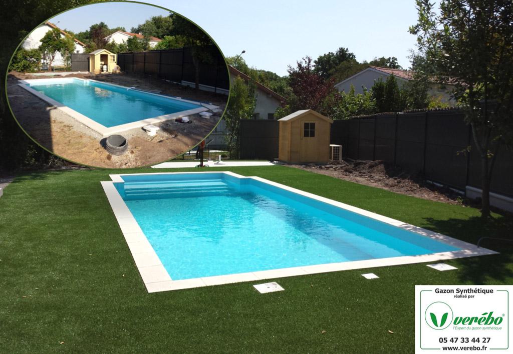 le gazon synthetique autour d une piscine s adapte sur tout type de revetement la pose peut se faire sur de la terre avec une preparation du terrain au