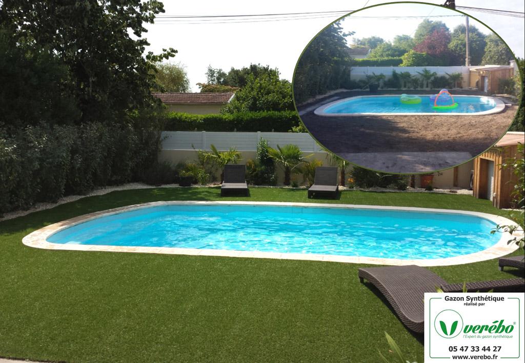gazon synthétique piscine Bordeaux Arcachon