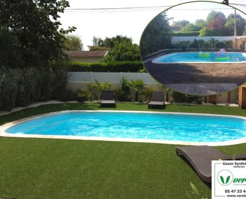 la pelouse synthétique autour de la piscine remplace la terrasse à Bordeaux