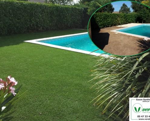 une pelouse artificielle autour de la piscine en Gironde