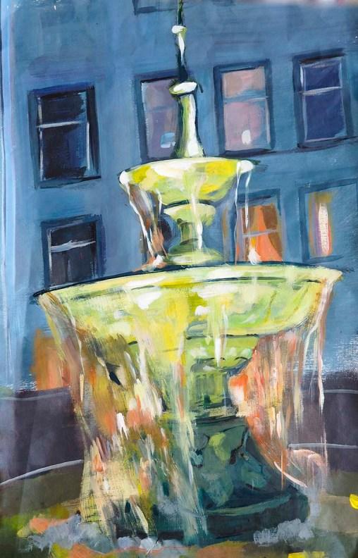 Verena Waddell visual artist print on canvas Fountain