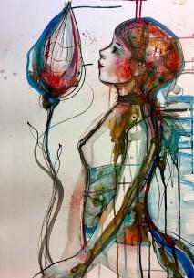 Verena Waddell ink original bud