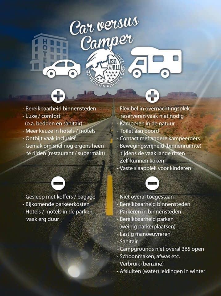 Auto of Camper - Voor en nadelen - USA4ALL