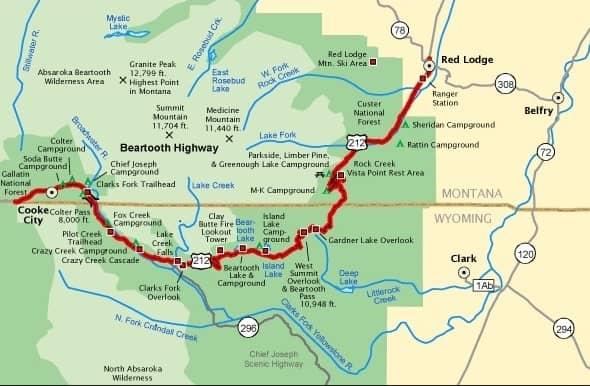 Beartooth Highway - Map