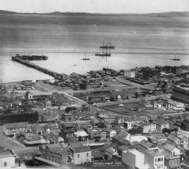 Meiggs Wharf 1865 (de stad begint al noordwaarts te groeien, zoals Meiggs voorspelde)