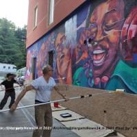 Il Murale di Antonio Cotecchia ti accoglie all'ingresso del Rufus Thomas Park a Porretta
