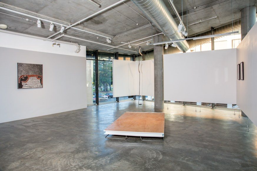 (left to right) Lena Nyadbi Untitled (2013) 90×90 cm Ochre and pigments on canvas. Deb Mansfield, Increasing levels of collective denial until it's all over, concrete parts, navy marine rope, bronze electrics, dimensions variable, 2016. Bonita Bub, Hilux: Industrial Objects for MacBook Users, stainless steel, powder coated steel, plywood, canvas, webbing, cord, 2015. Consuelo Cavaniglia, Untitled, 2016, airbrushed pigment ink on archival paper, 760 x 560 mm. Image by Document Photography.
