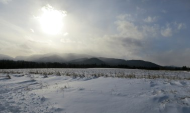adirondack mountain view in winter