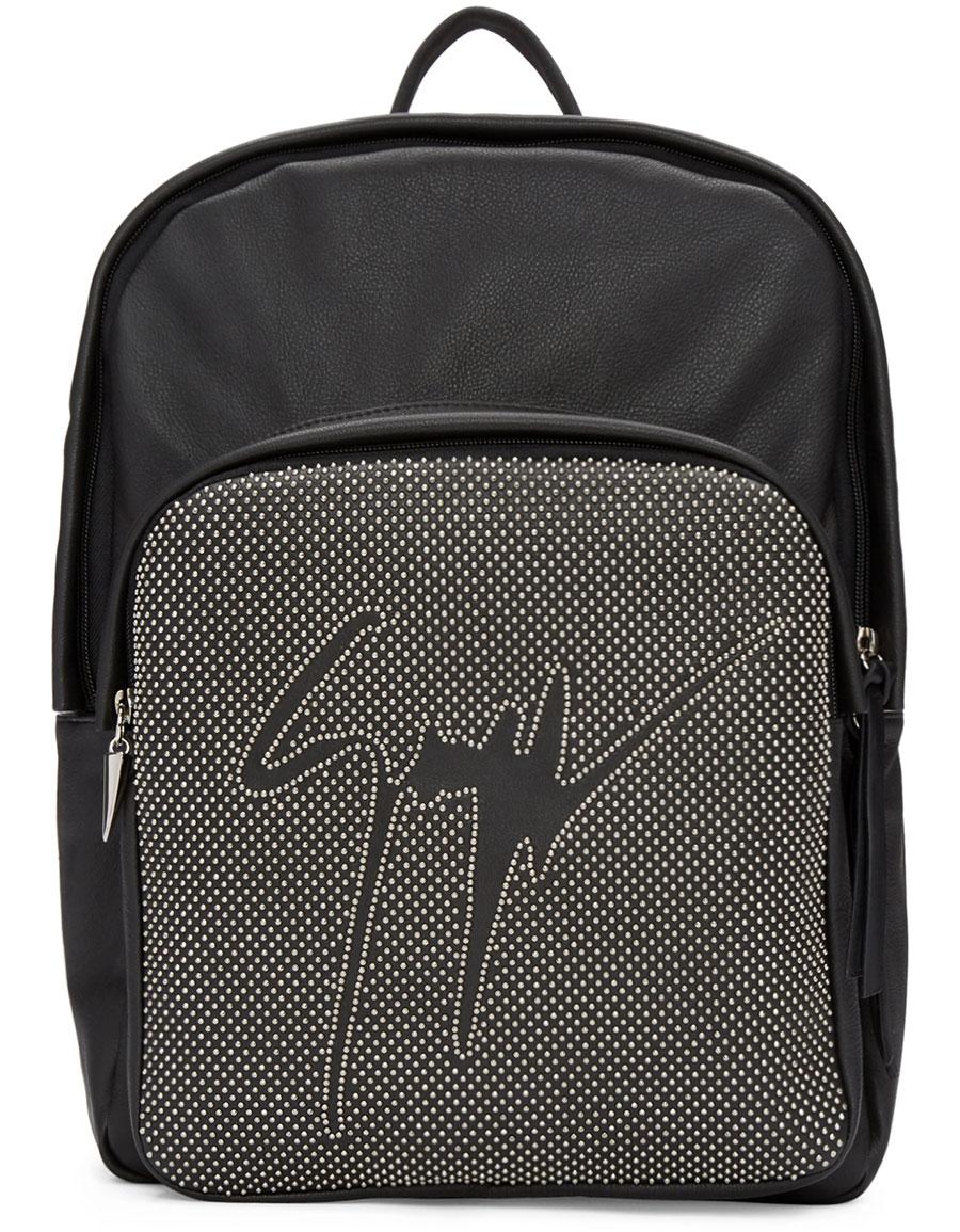 GIUSEPPE ZANOTTI Black Leather Studded Backpack