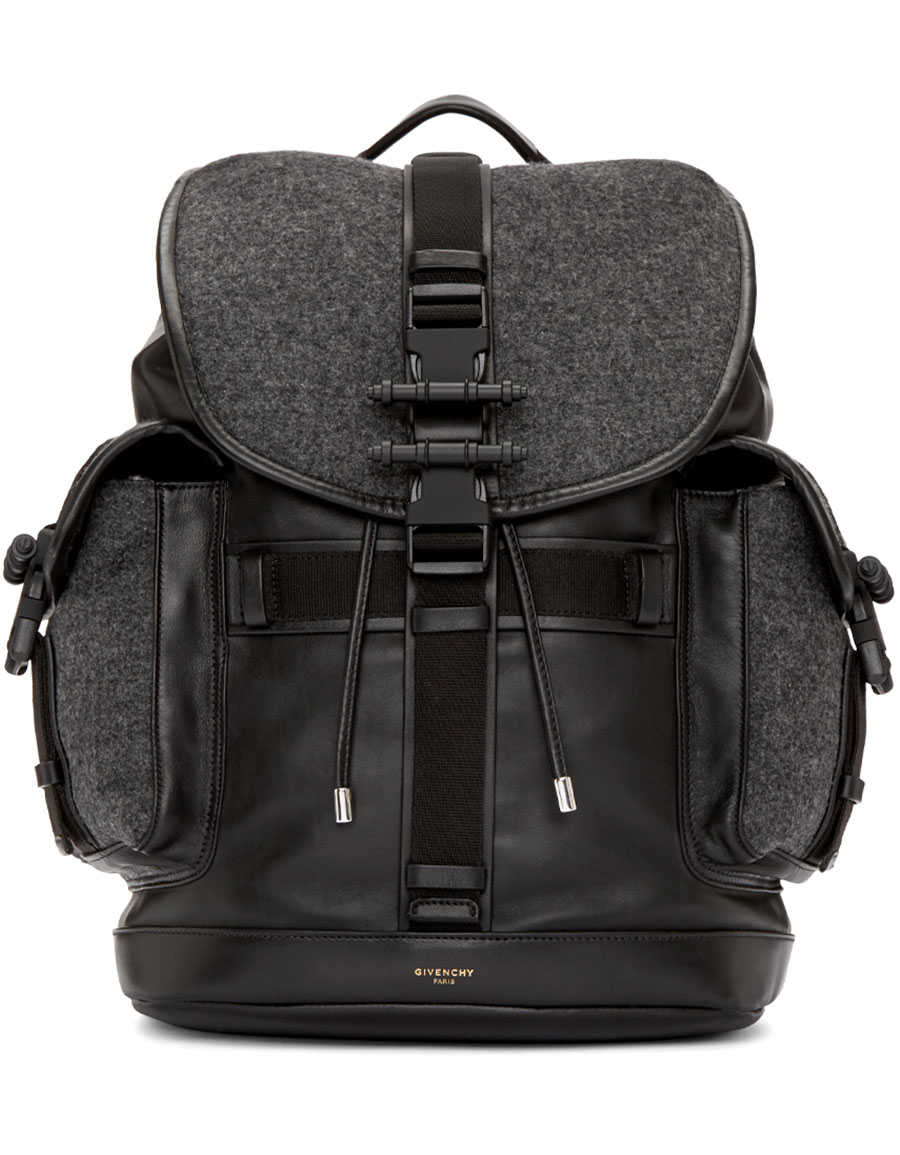 GIVENCHY Grey Wool & Leather Obsedia Backpack
