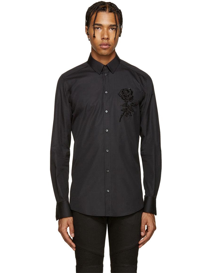 DOLCE & GABBANA Black Beaded Rose Shirt