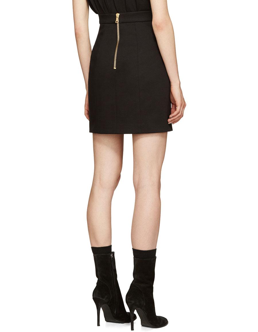 BALMAIN Black Buttoned Miniskirt