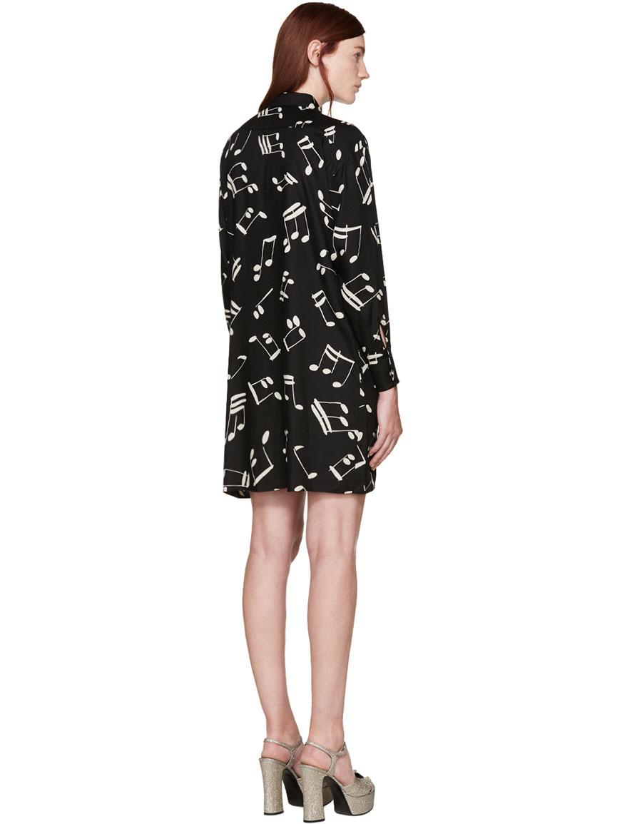 SAINT LAURENT Black & White Music Notes Dress