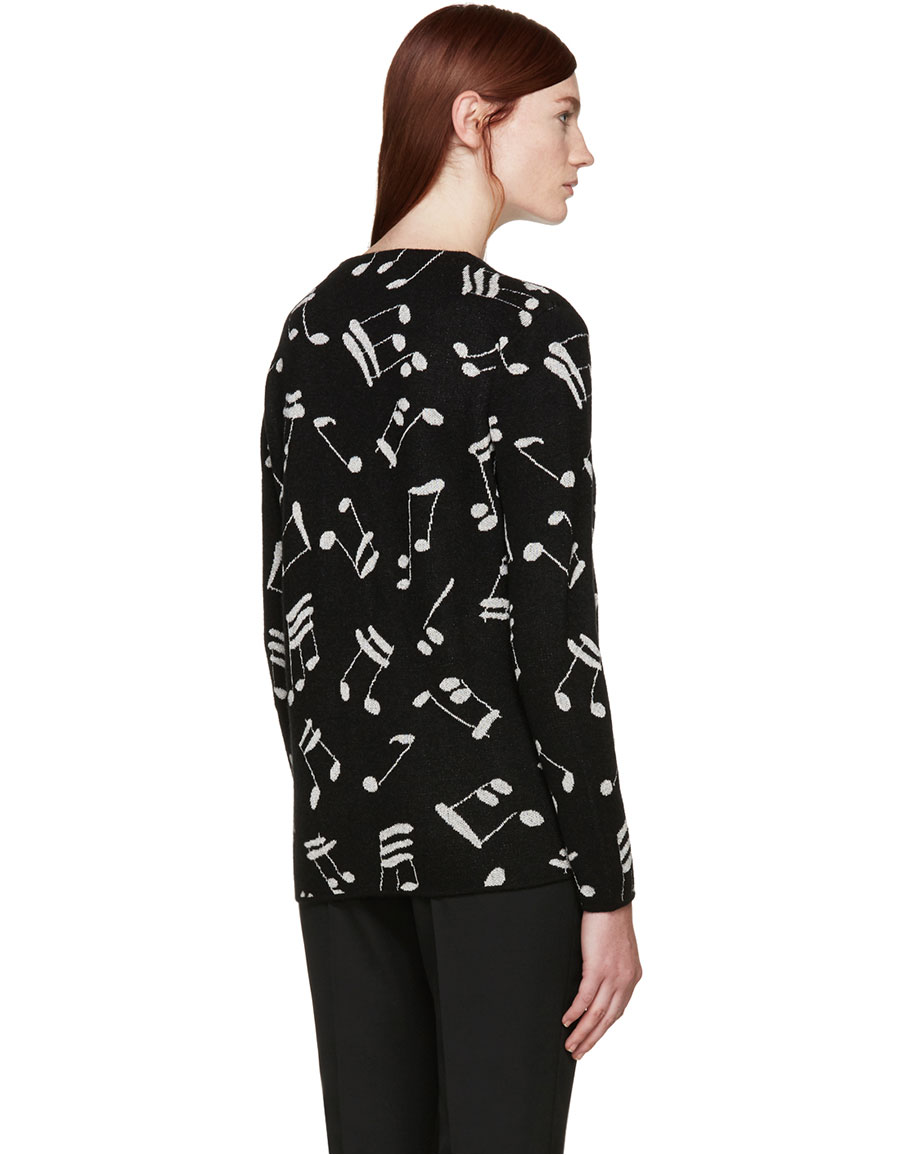 SAINT LAURENT Black Music Note Cardigan