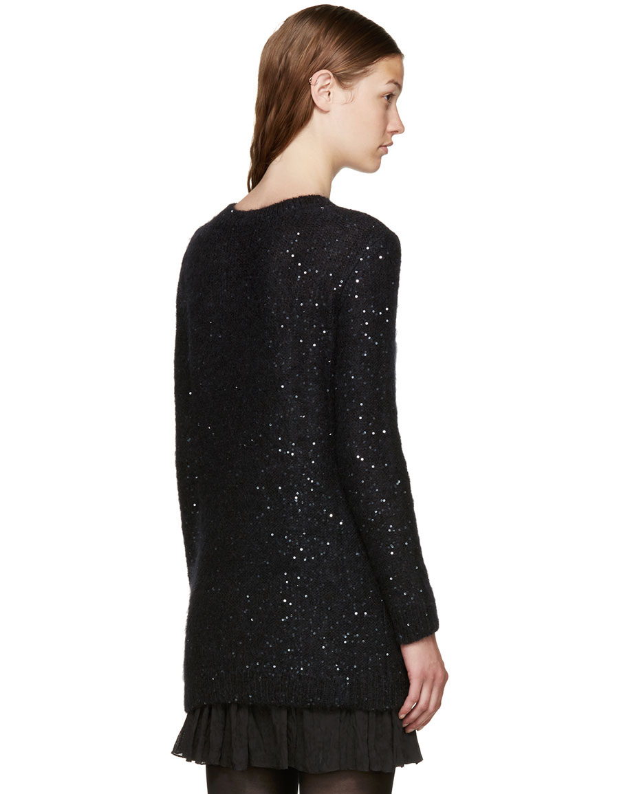 SAINT LAURENT Black Calf Hair Sequin Sweater
