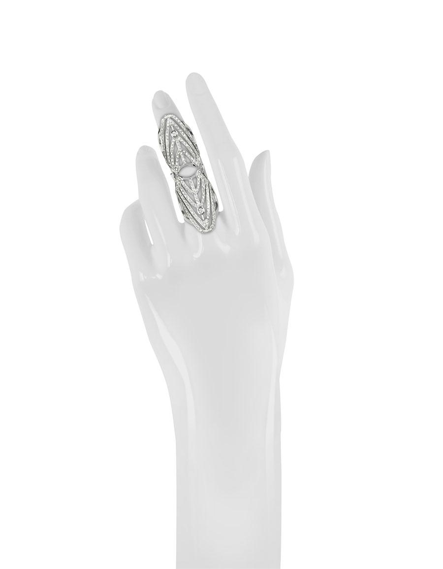 BERNARD DELETTREZ White Gold and Diamonds Shield Articulated Ring