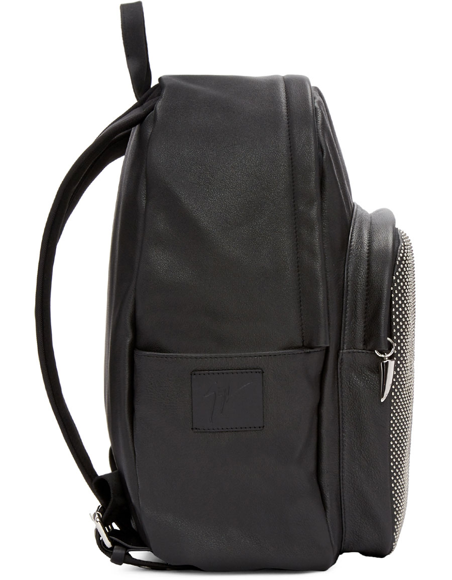 GIUSEPPE ZANOTTI Black Leather Studded Backpack
