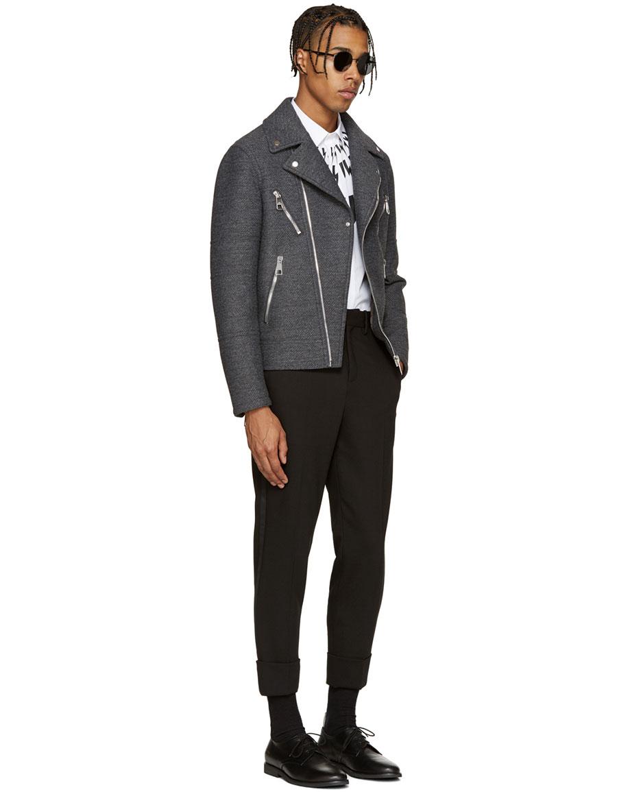 NEIL BARRETT Grey Wool Biker Jacket