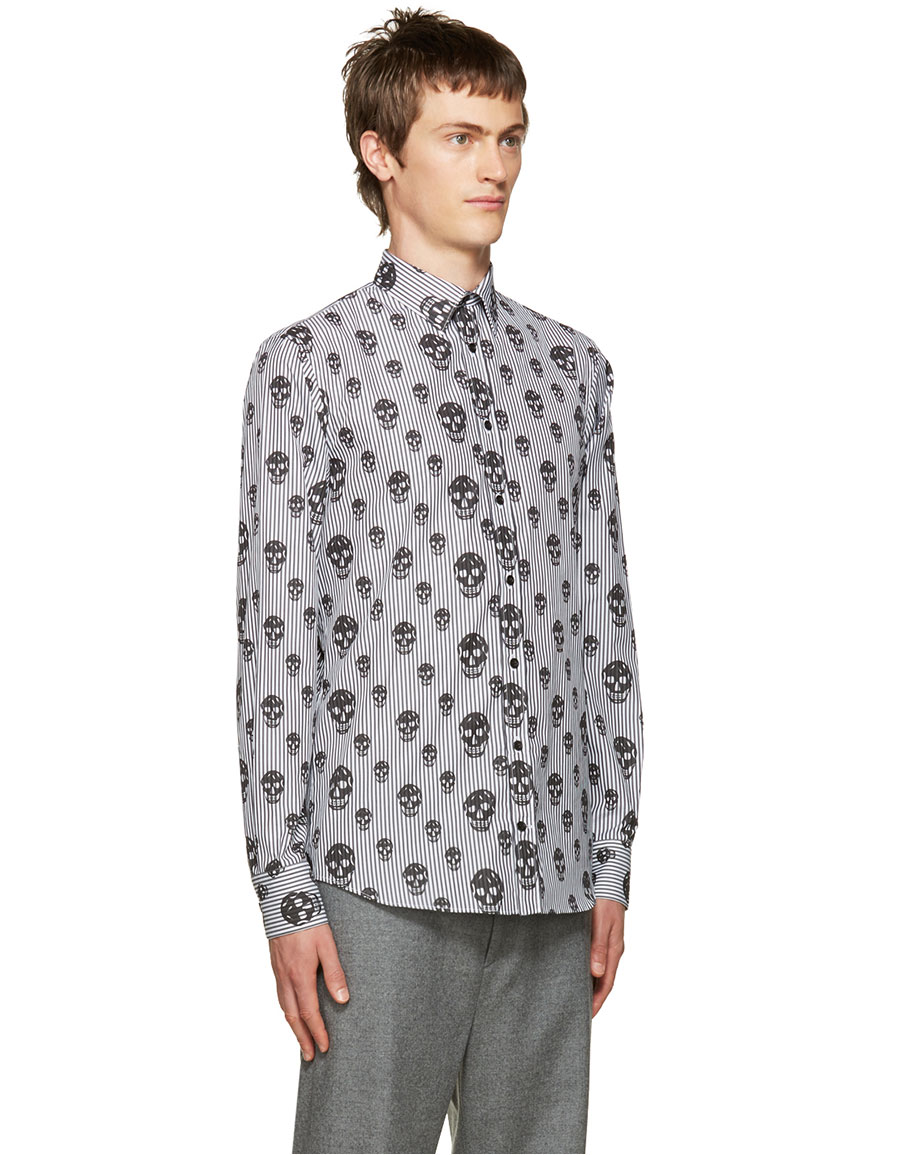 ALEXANDER MCQUEEN Black Stripes & Skulls Shirt