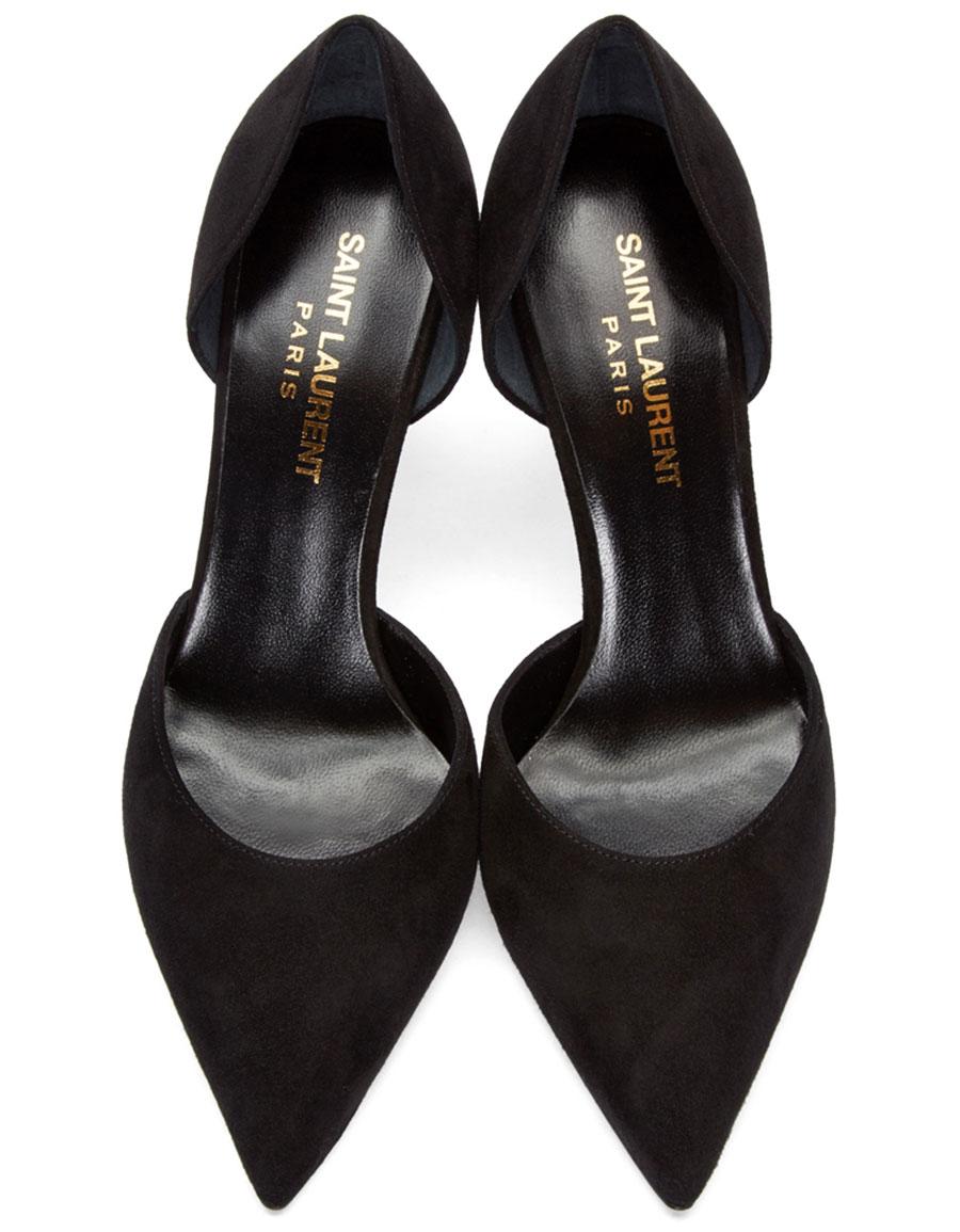 SAINT LAURENT Black Suede Paris Skinny D'Orsay Heels