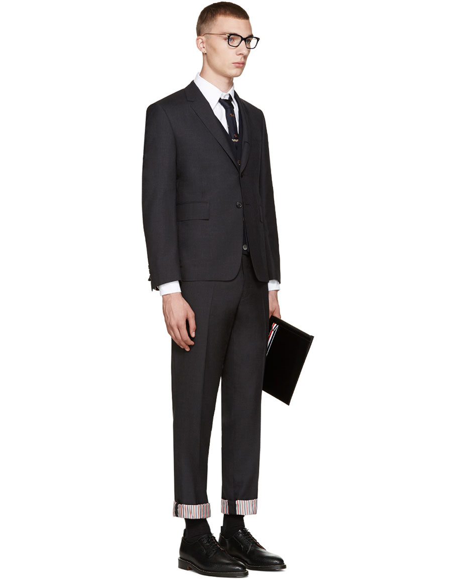 THOM BROWNE Grey Wool Classic Suit