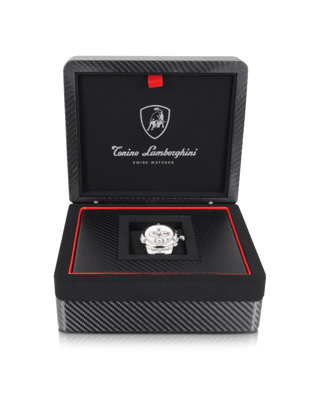 TONINO LAMBORGHINI Shield Lady Silver Tone Stainless Steel and White Croco Print Leather Chronograph Watch