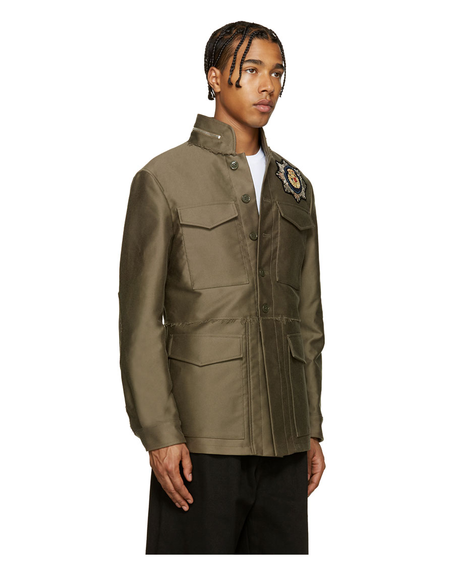 ALEXANDER MCQUEEN Taupe Embellished Military Jacket