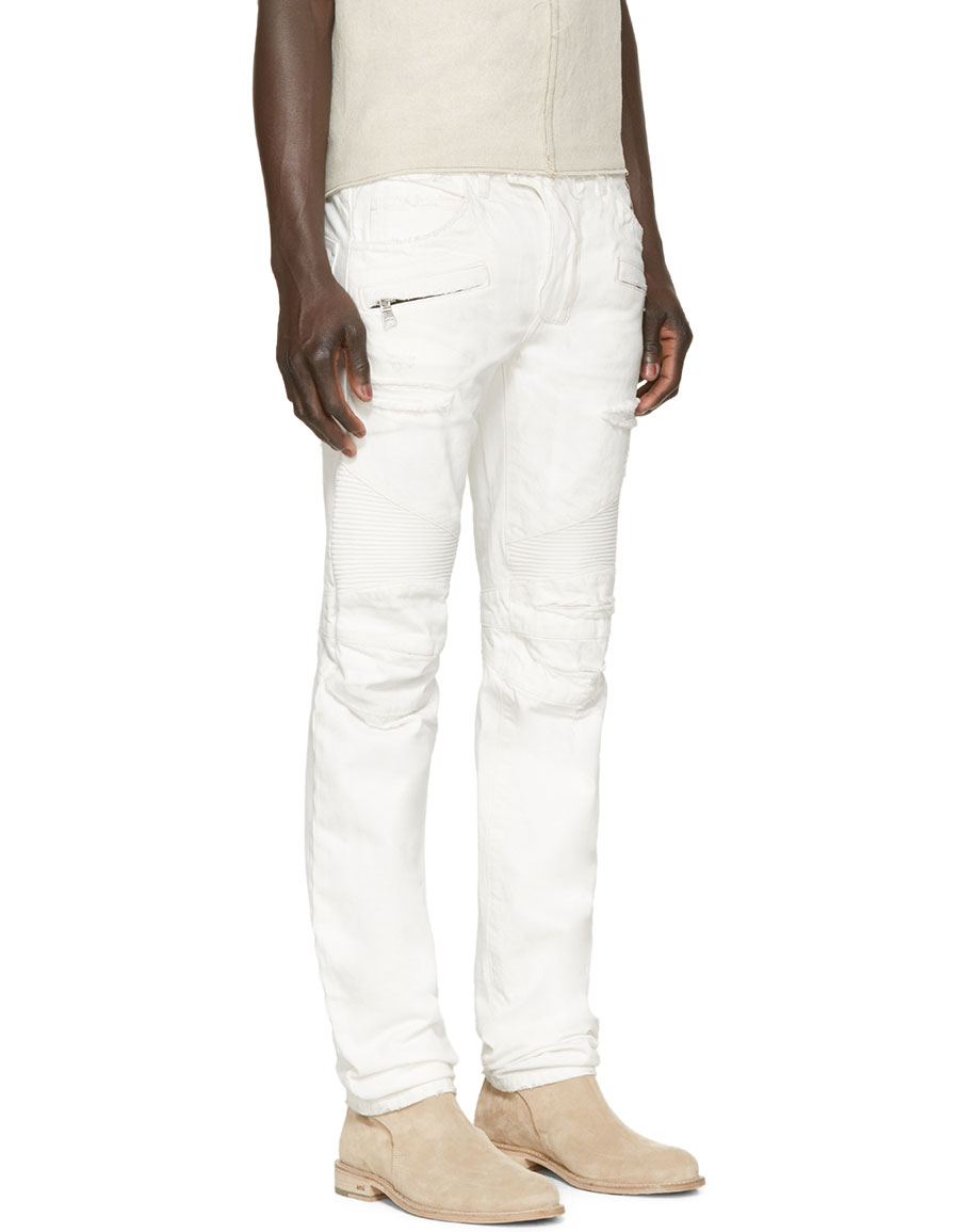 BALMAIN White Distressed Biker Jeans