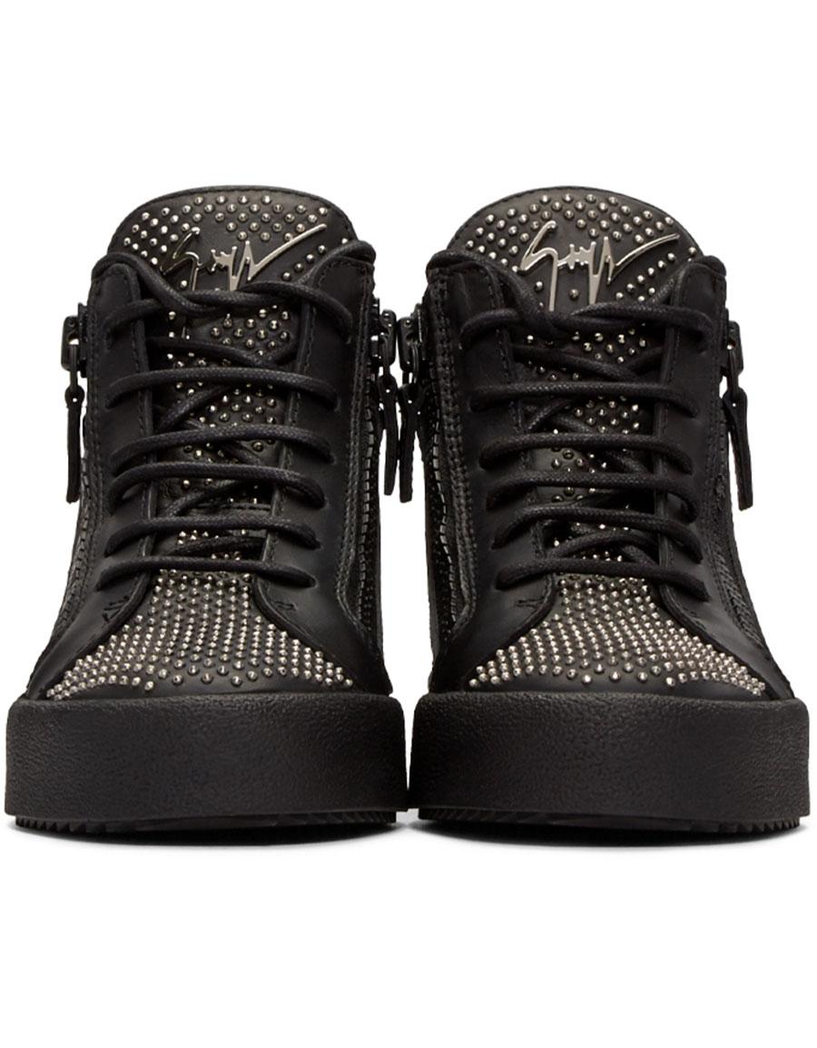 GIUSEPPE ZANOTTI Black Studded London High Top Sneakers