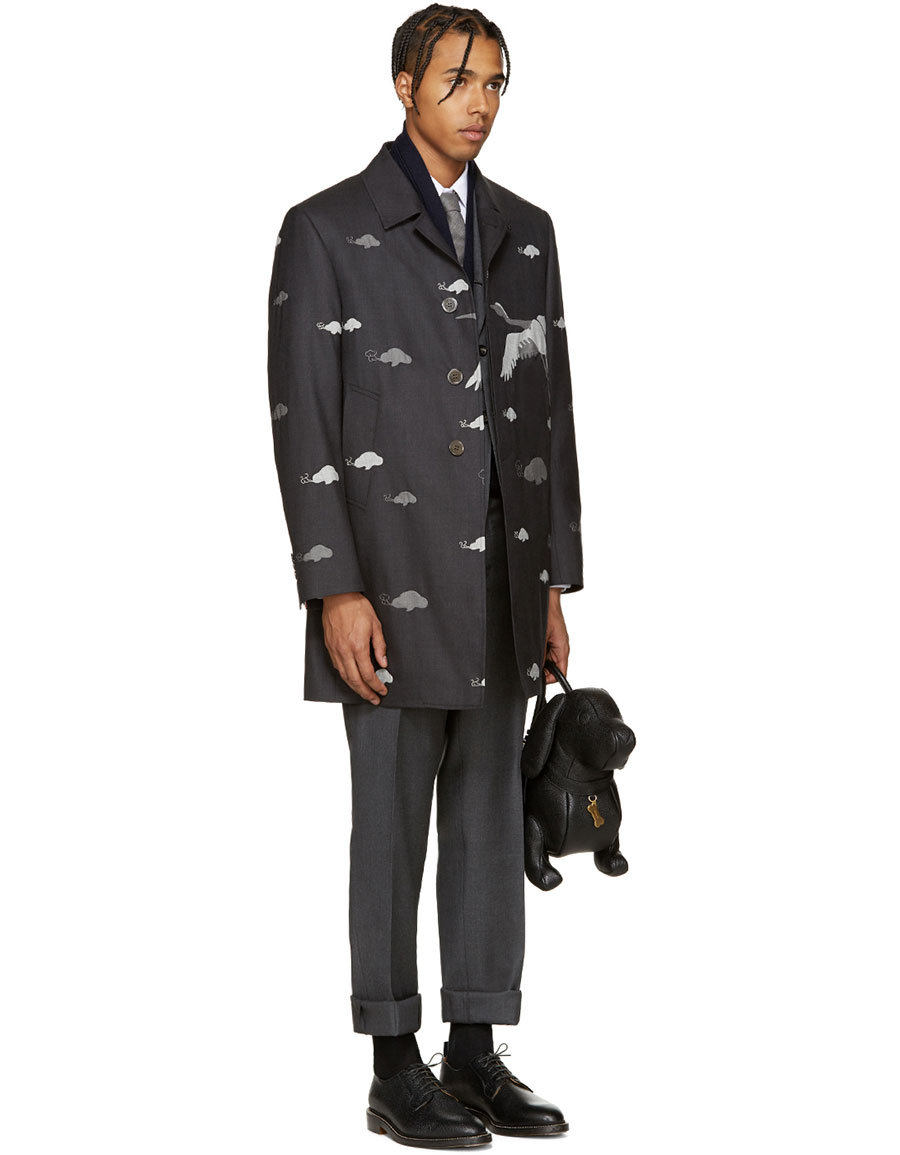 THOM BROWNE Grey Wool Crane Coat