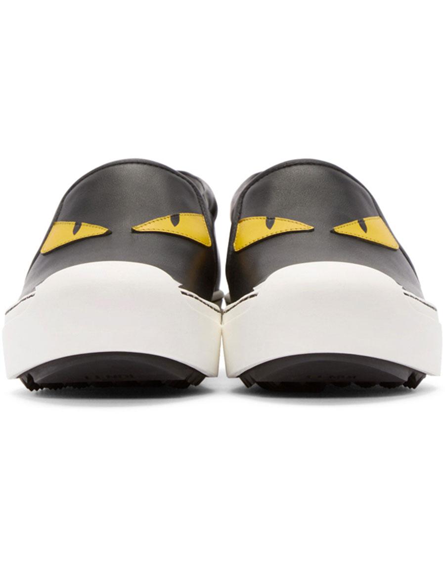FENDI Black Bug Eyes Slip On Sneakers