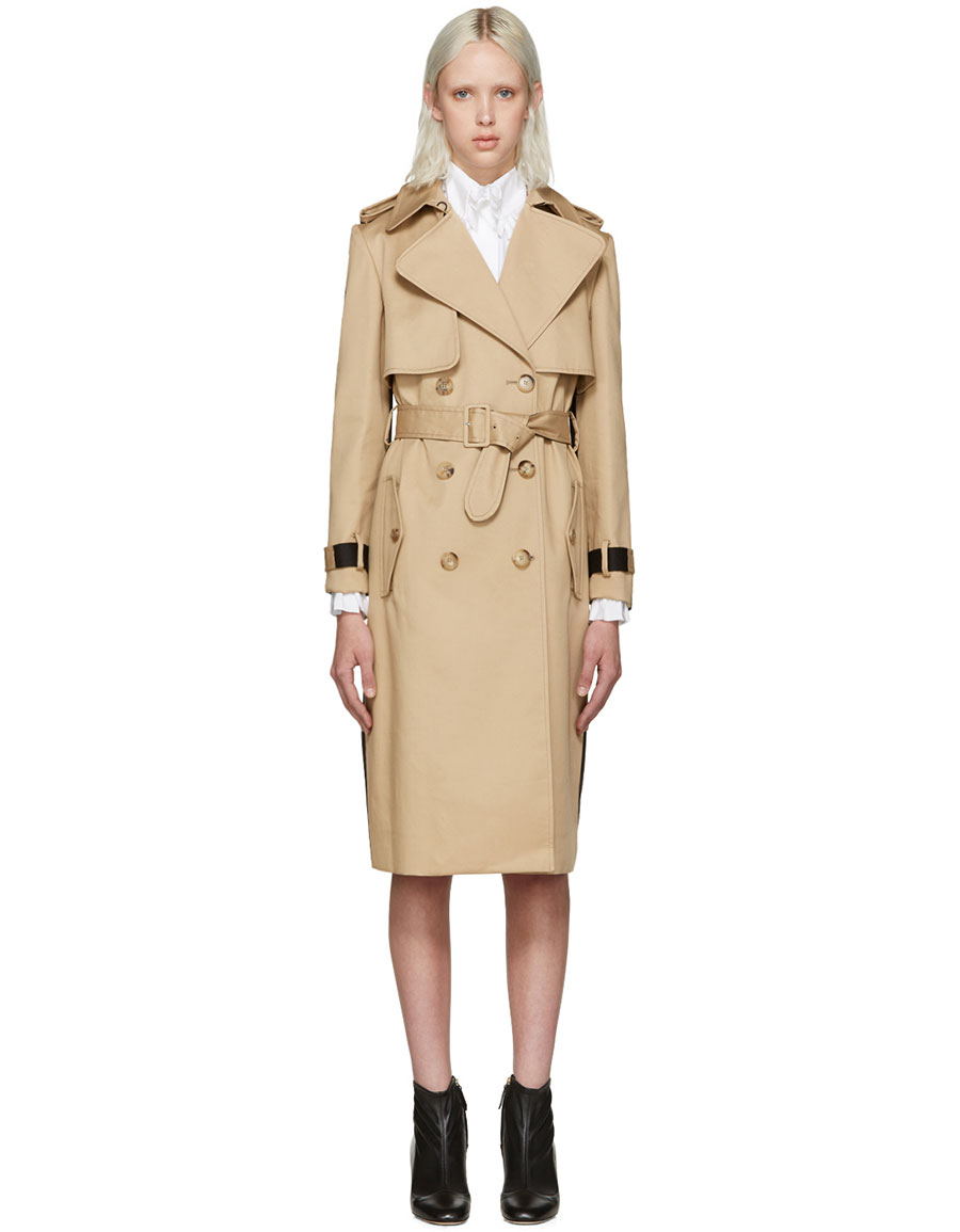 ERDEM Beige & Black Meira Trench Coat