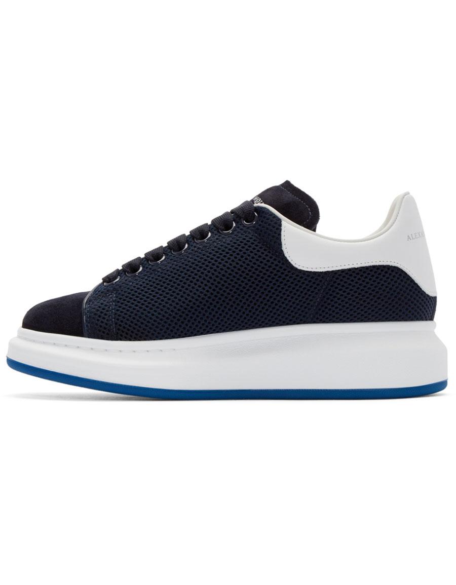 ALEXANDER MCQUEEN Navy & White Mesh Sneakers