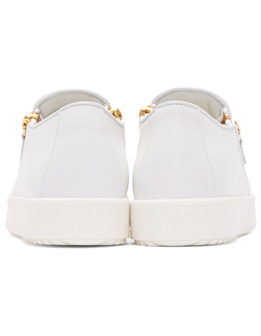 GIUSEPPE ZANOTTI White Leather London Slip On Sneakers