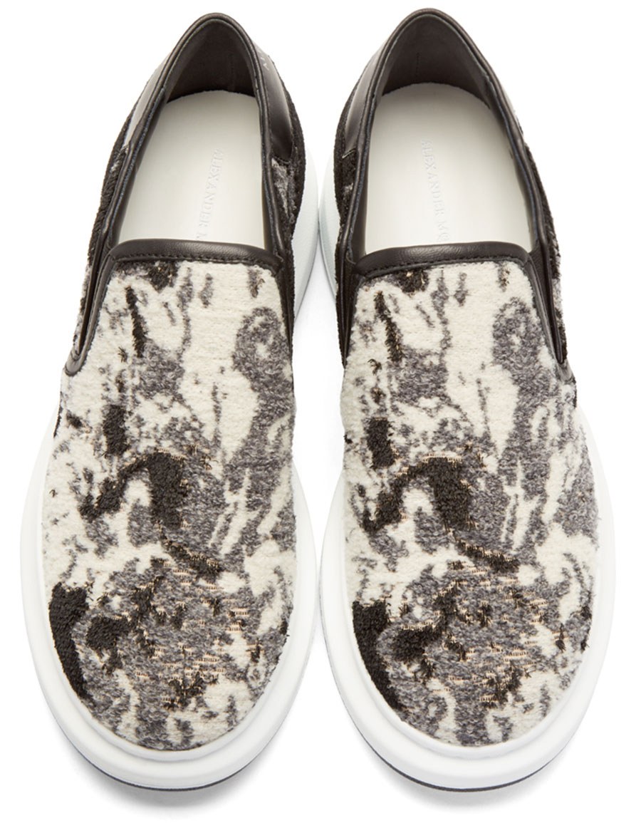 ALEXANDER MCQUEEN Black Floral Jacquard Slip On Sneakers