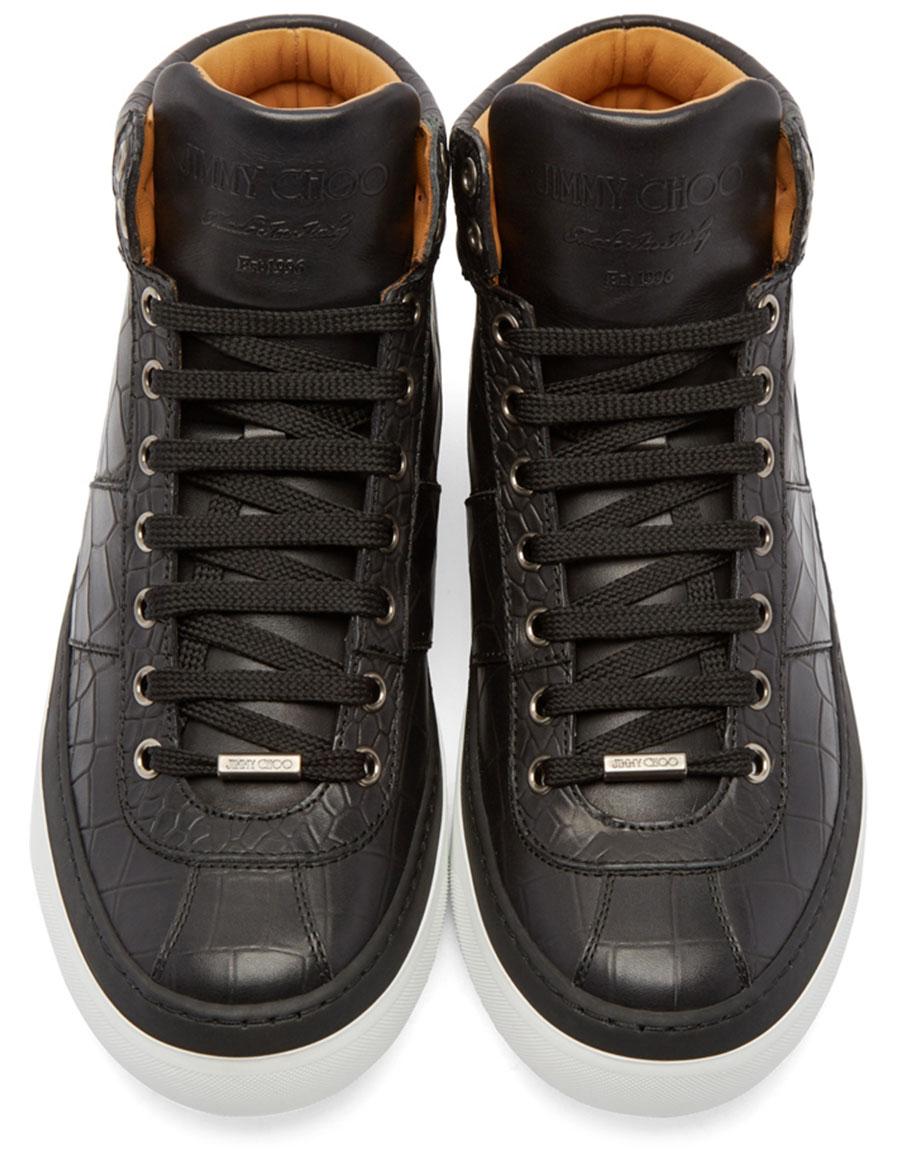 JIMMY CHOO Black Croc Embossed Belgravia High Top Sneakers
