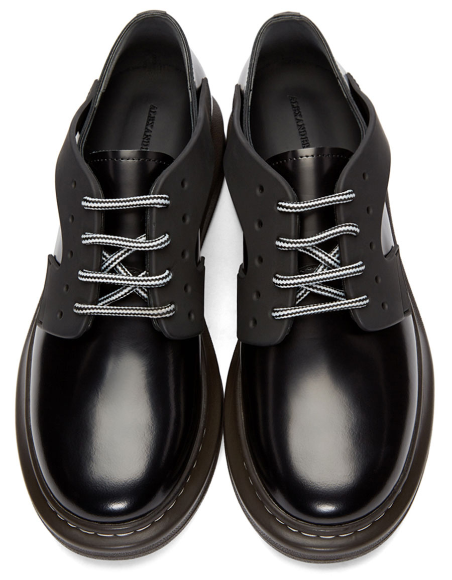 ALEXANDER MCQUEEN Black Leather XL Derbys