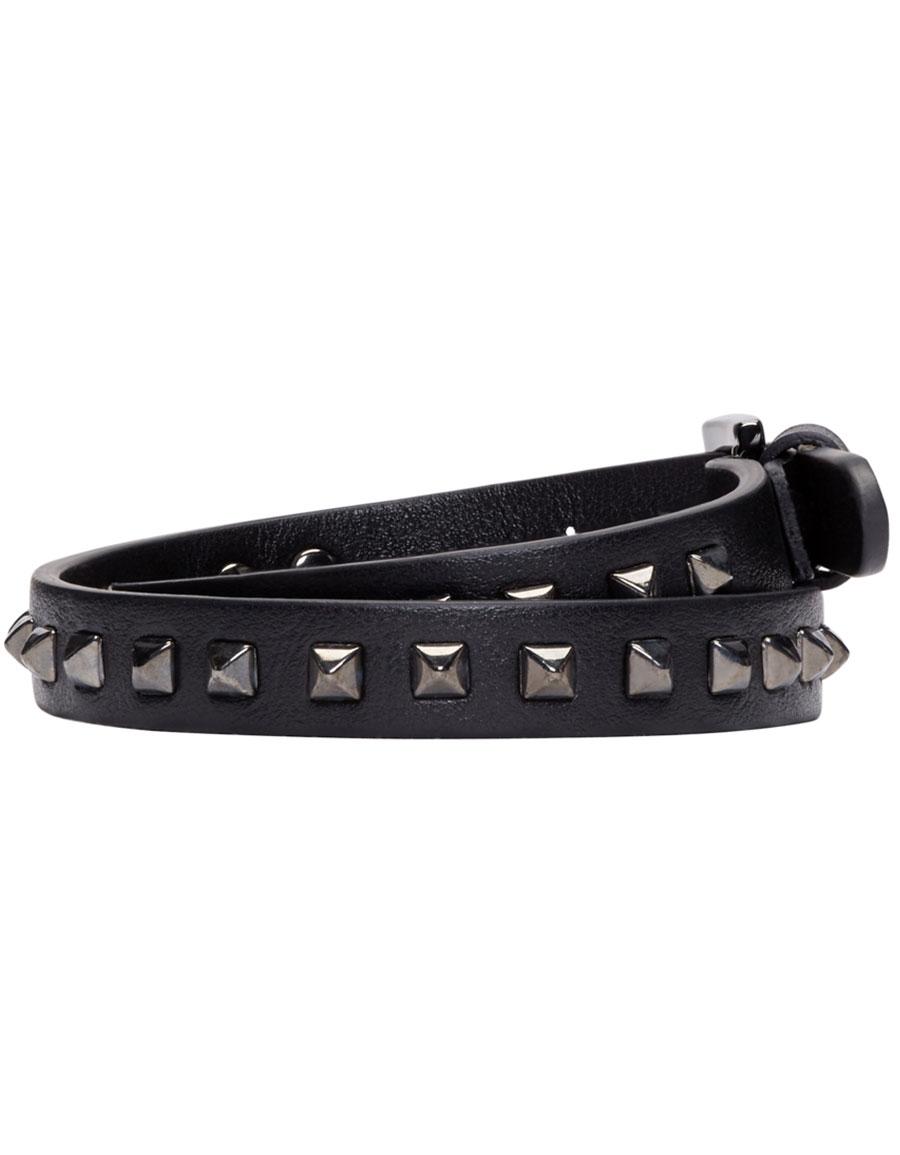 VALENTINO Black Leather Wrap Rockstud Bracelet