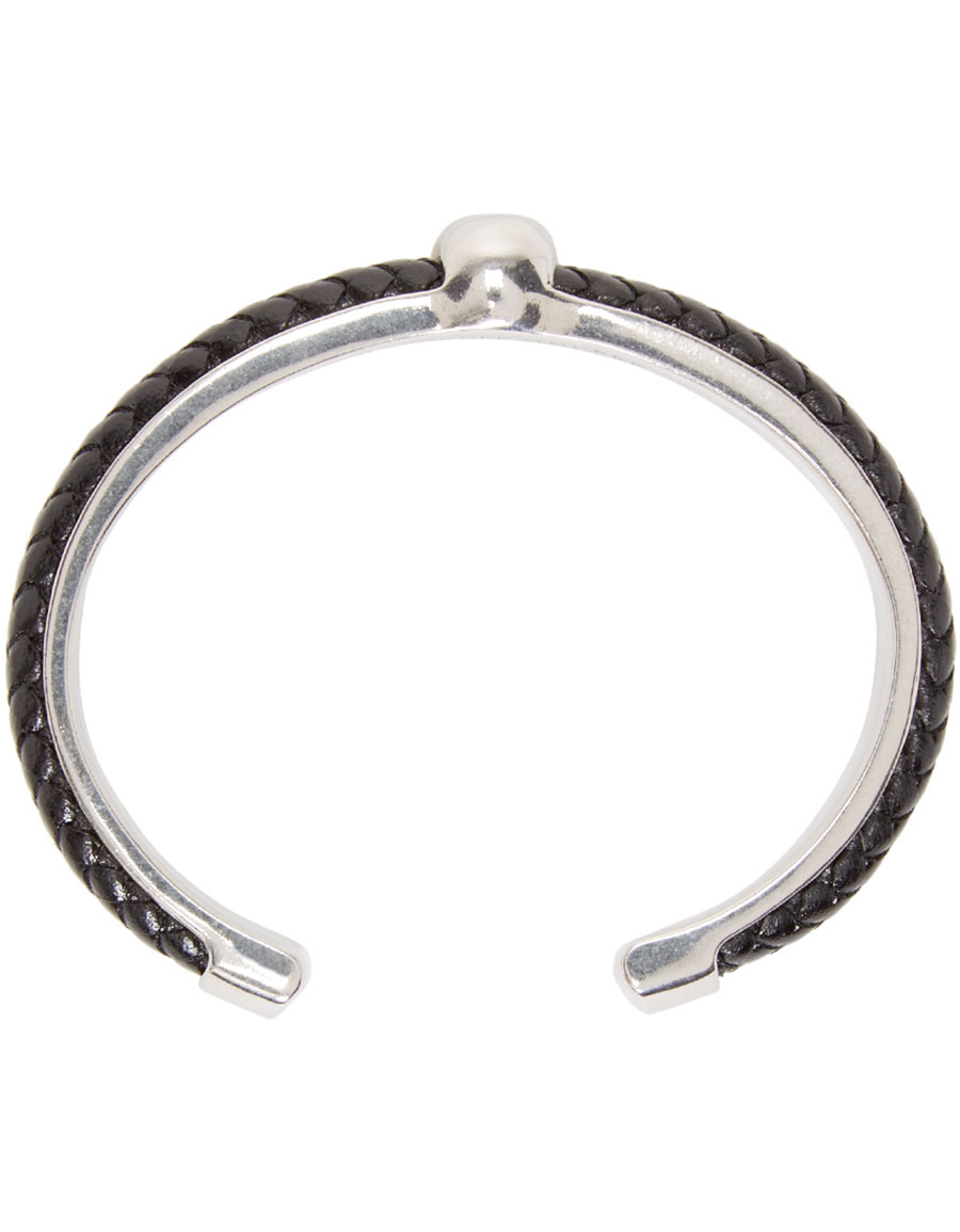 ALEXANDER MCQUEEN Black & Silver Leather Skull Cuff