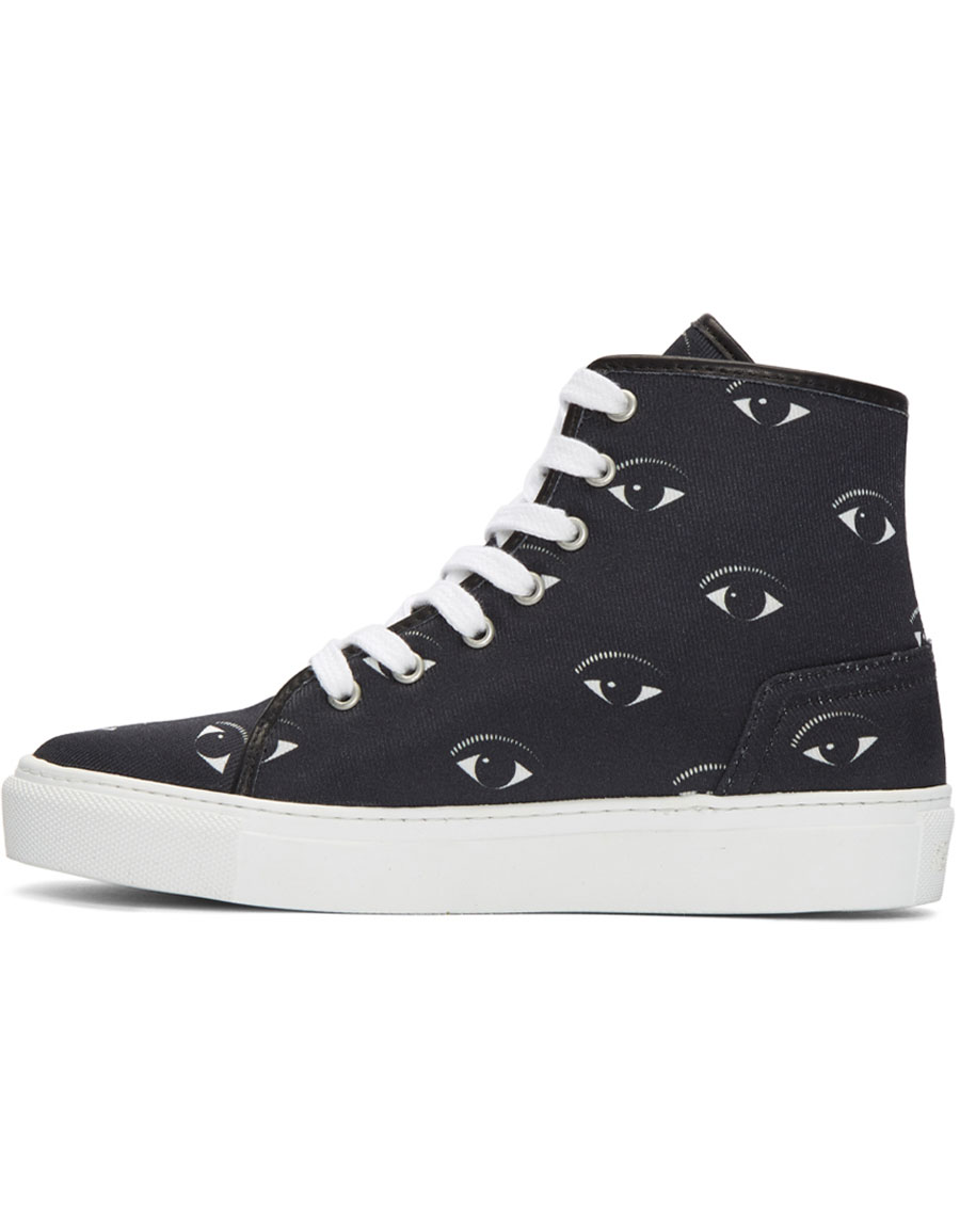 KENZO Black Eyes High Top Sneakers