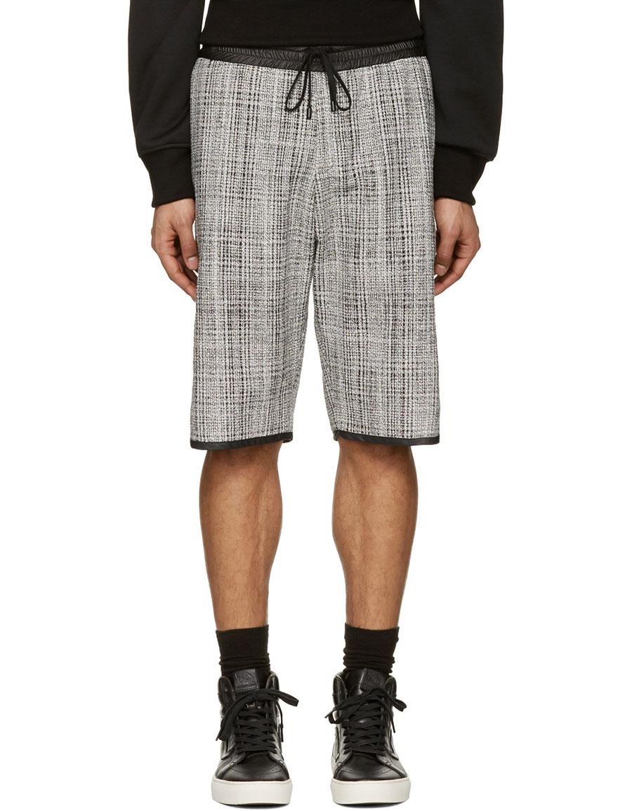 PUBLIC SCHOOL Black & White Tweed Shorts