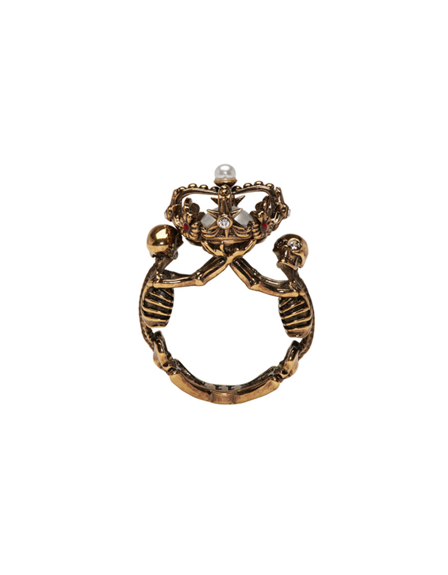 ALEXANDER MCQUEEN Gold Two Skeletons Ring