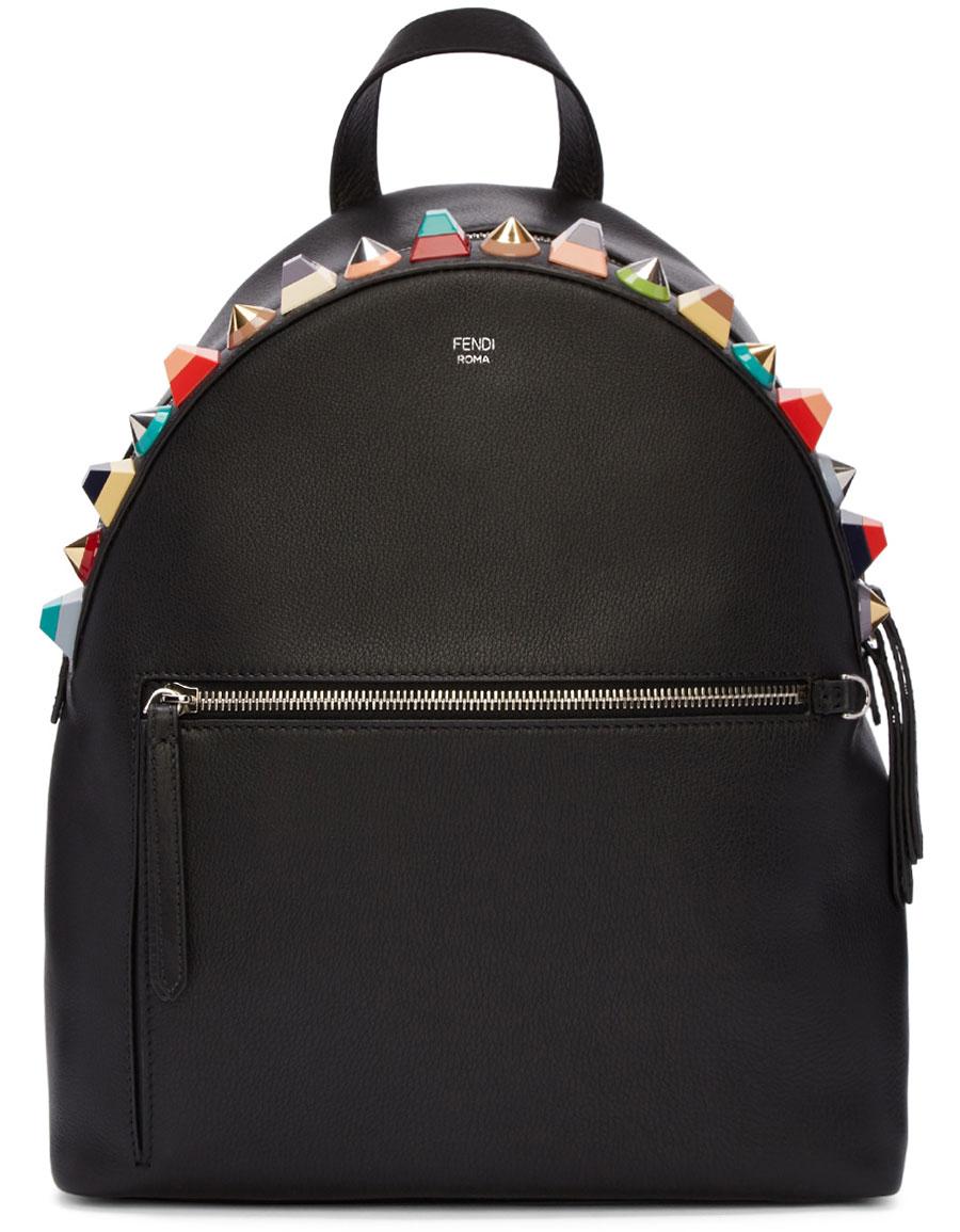 FENDI Black Studded Rainbow Backpack