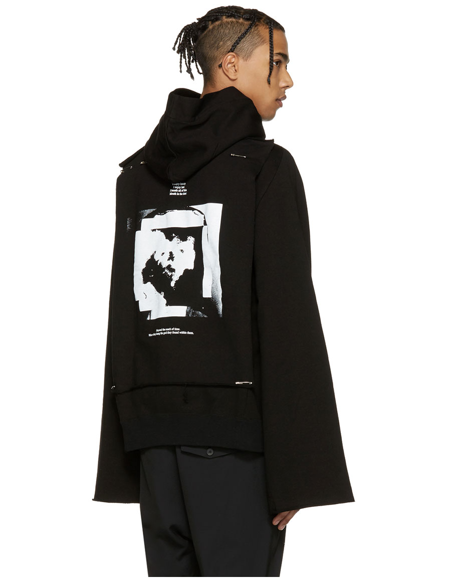 JULIUS Black Asymmetric Patch Zip Up Hoodie