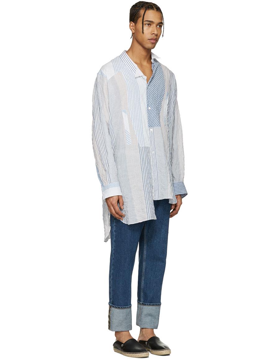LOEWE White Striped Asymmetric Shirt