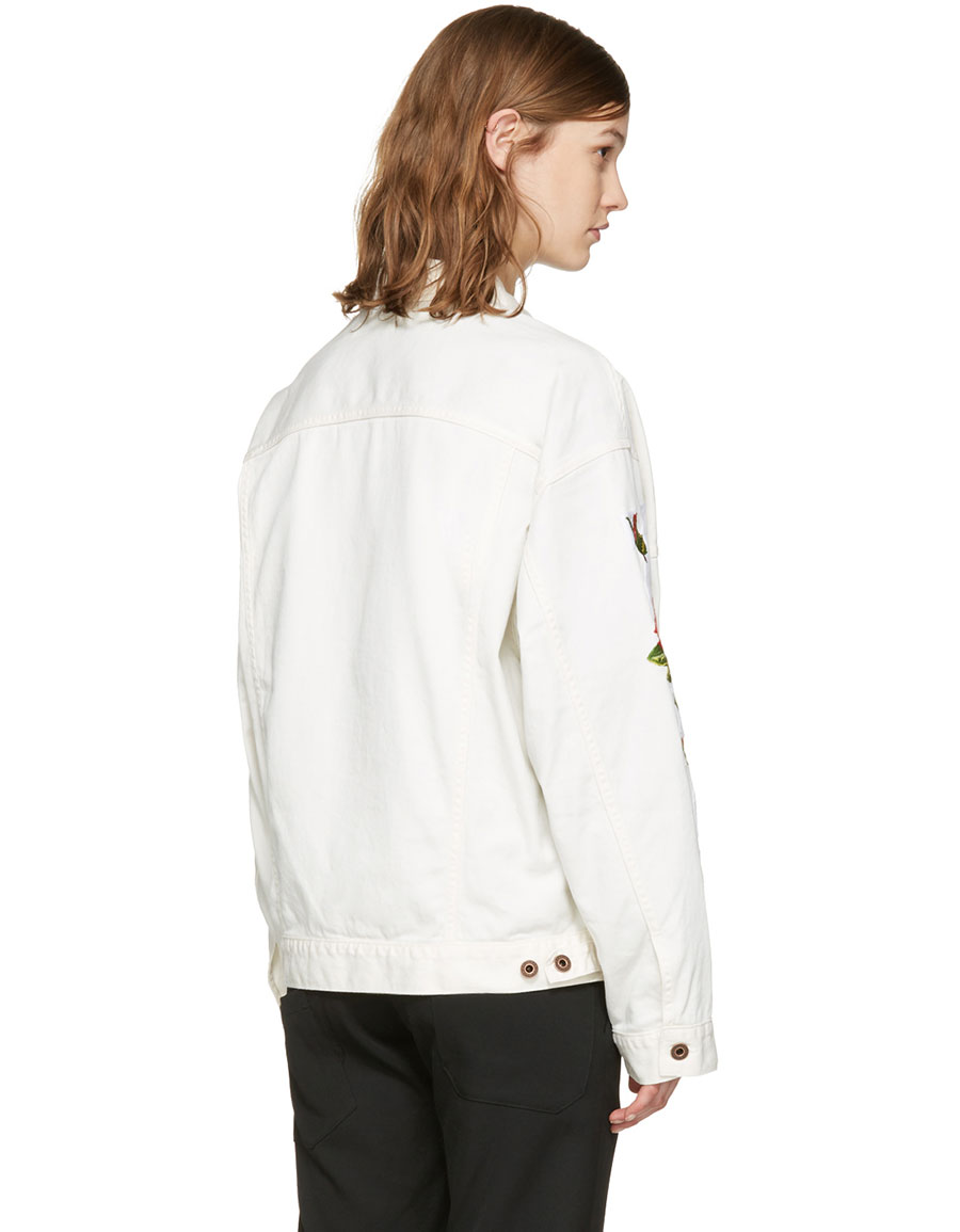 OFF WHITE White Denim Diagonal Roses Jacket