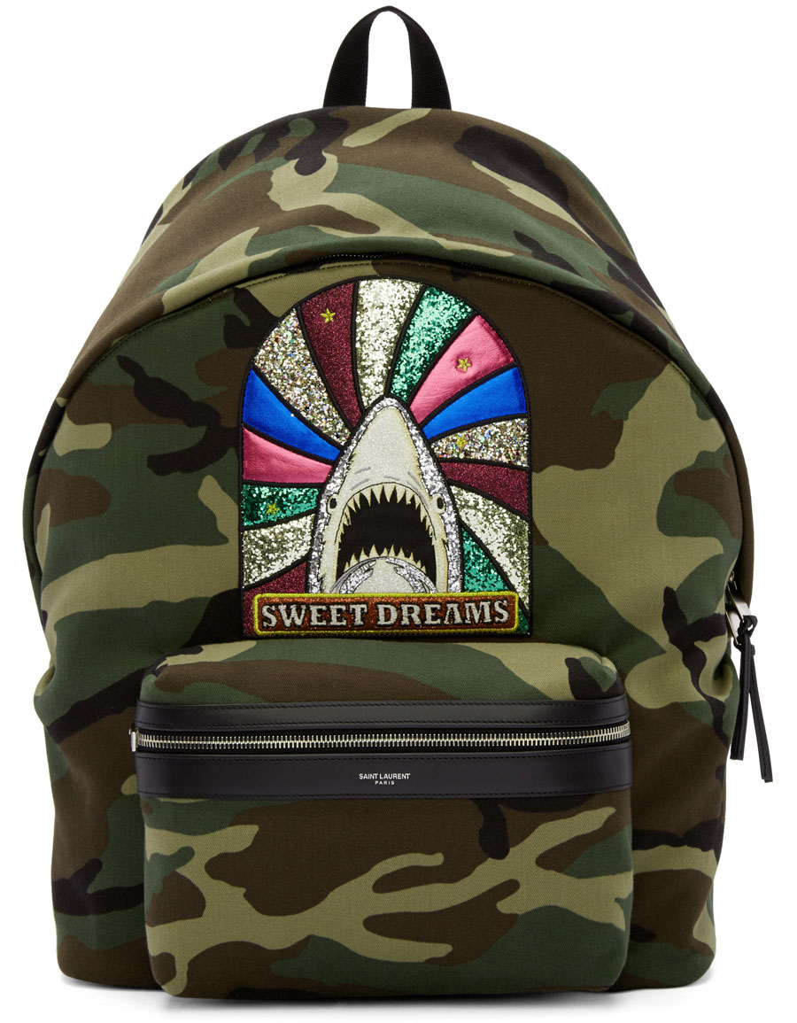 SAINT LAURENT Green Camouflage Sweet Dreams Giant City Backpack 3a2989772b