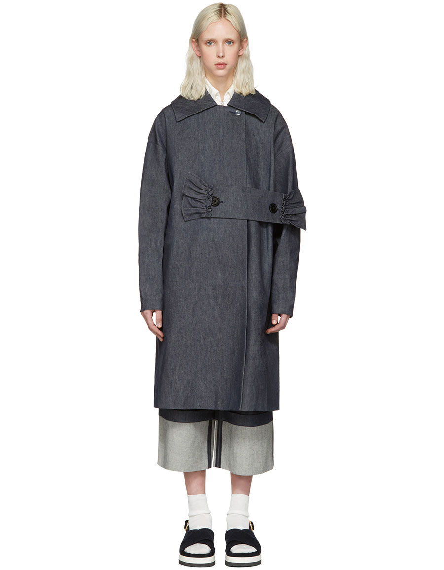 SHUSHU/TONG Blue Denim Waist Band Coat