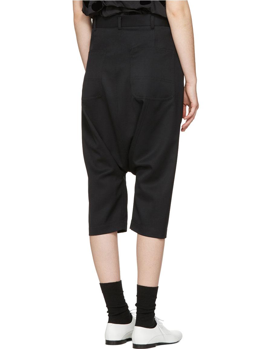 COMME DES GARÇONS Black Cropped Drop Trousers