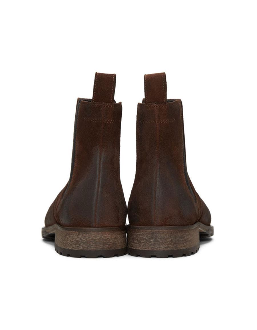 BELSTAFF Brown Burnished Suede Lancaster Chelsea Boots